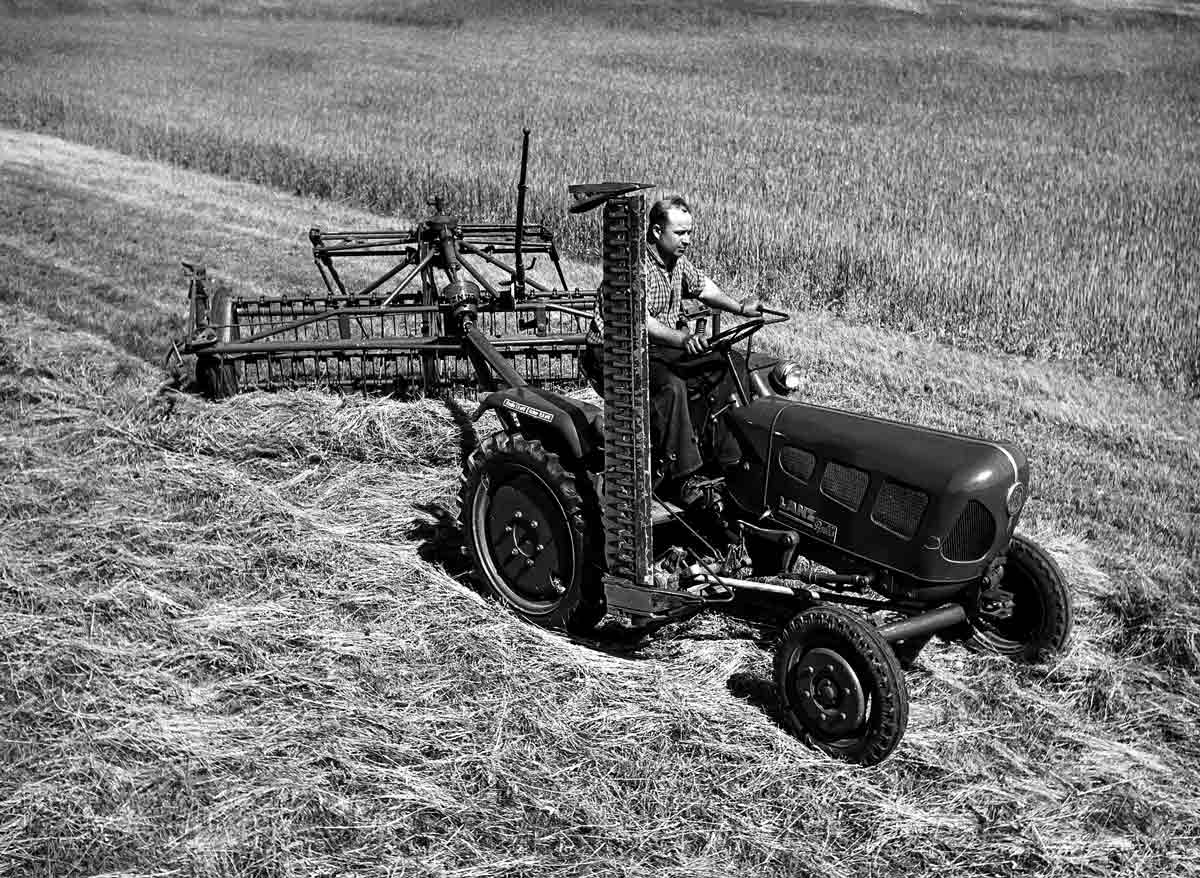 Traktoren wie der weit verbrei- tete Lanz Bulli erleichtern ab den 1950er Jahren die Arbeit – bei der Heuernte und vielen weiteren Aufgaben.