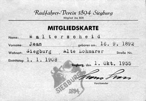 Mitgliedskarte Radfahrerverein Siegburg