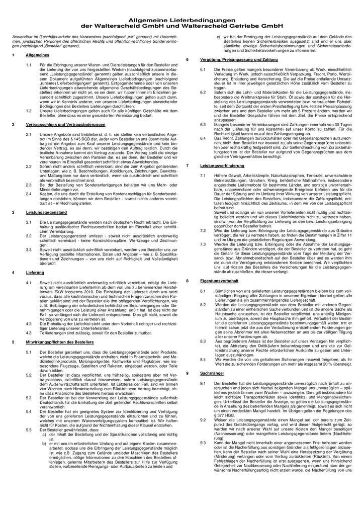 thumbnail of Allgemeine Lieferbedingungen für die Walterscheid GmbH und Walterscheid Getriebe GmbH DE