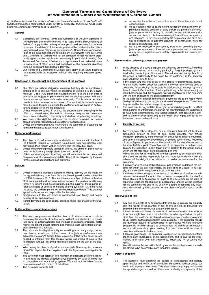 thumbnail of General Terms and Conditions of for Sale for Walterscheid GmbH and Walterscheid Getriebe GmbH