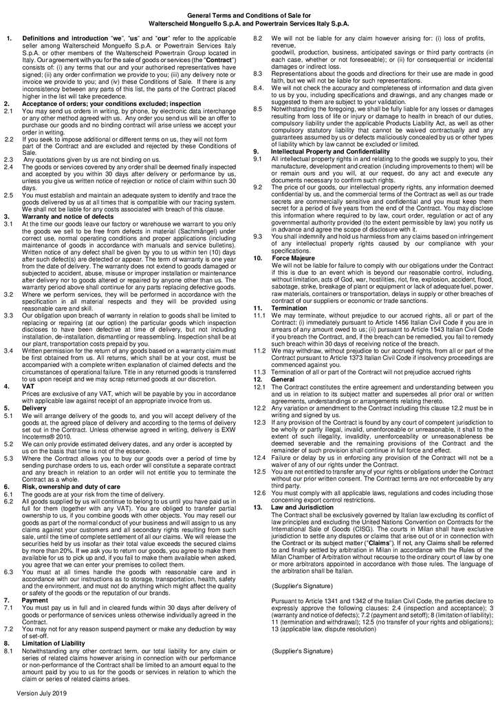 thumbnail of General Terms and conditions of Sale Italy