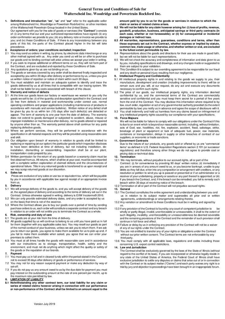 thumbnail of General Terms and conditions of Sale US
