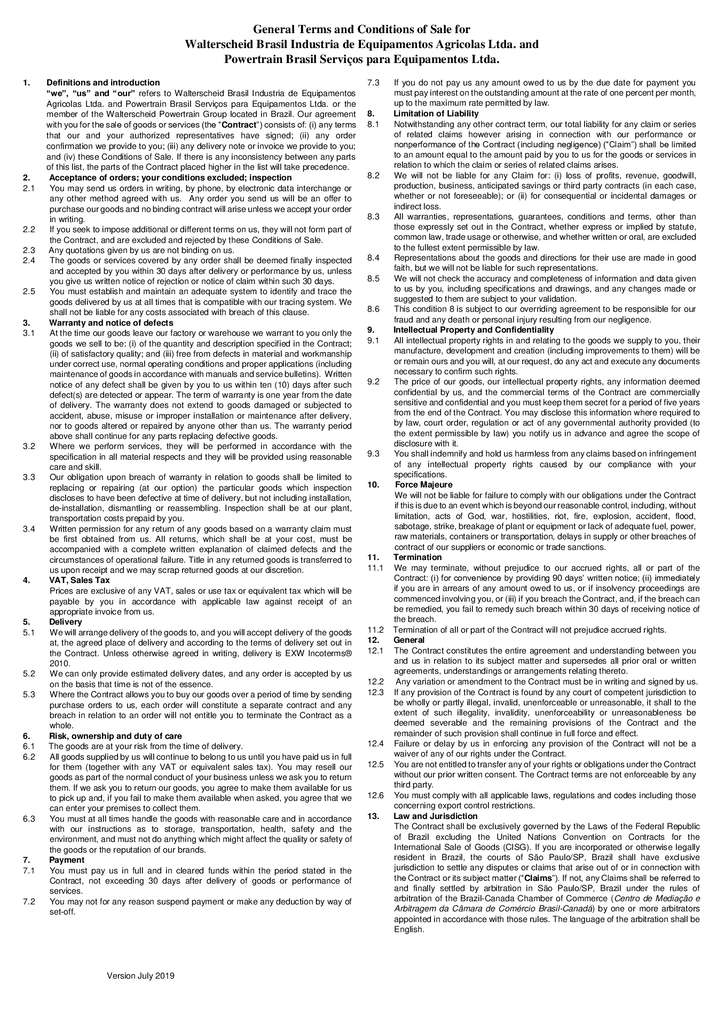 thumbnail of Terms and Conditions of Sale Brazil