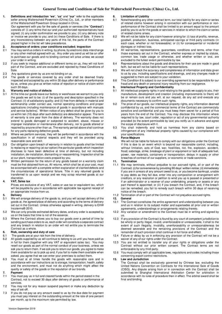 thumbnail of Terms and Conditions of Sale Walterscheid Powertrain China